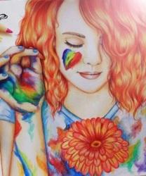 mujer arcoiris